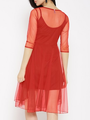 solid red fit & flare dress - 14915987 - Standard Image - 4