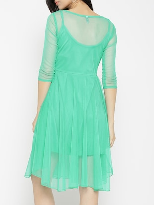 solid green fit & flare dress - 14915992 - Standard Image - 4
