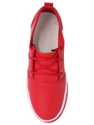 red leatherette lace up sneaker - 14916580 - Standard Image - 4