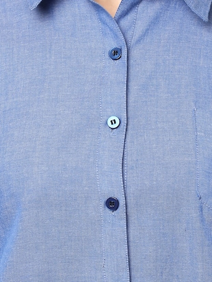 blue cotton solid shirt - 14917277 - Standard Image - 4