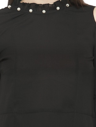 solid black cold shoulder top - 14919782 - Standard Image - 4