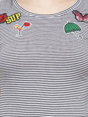 black striped cotton tee - 14919786 - Standard Image - 4
