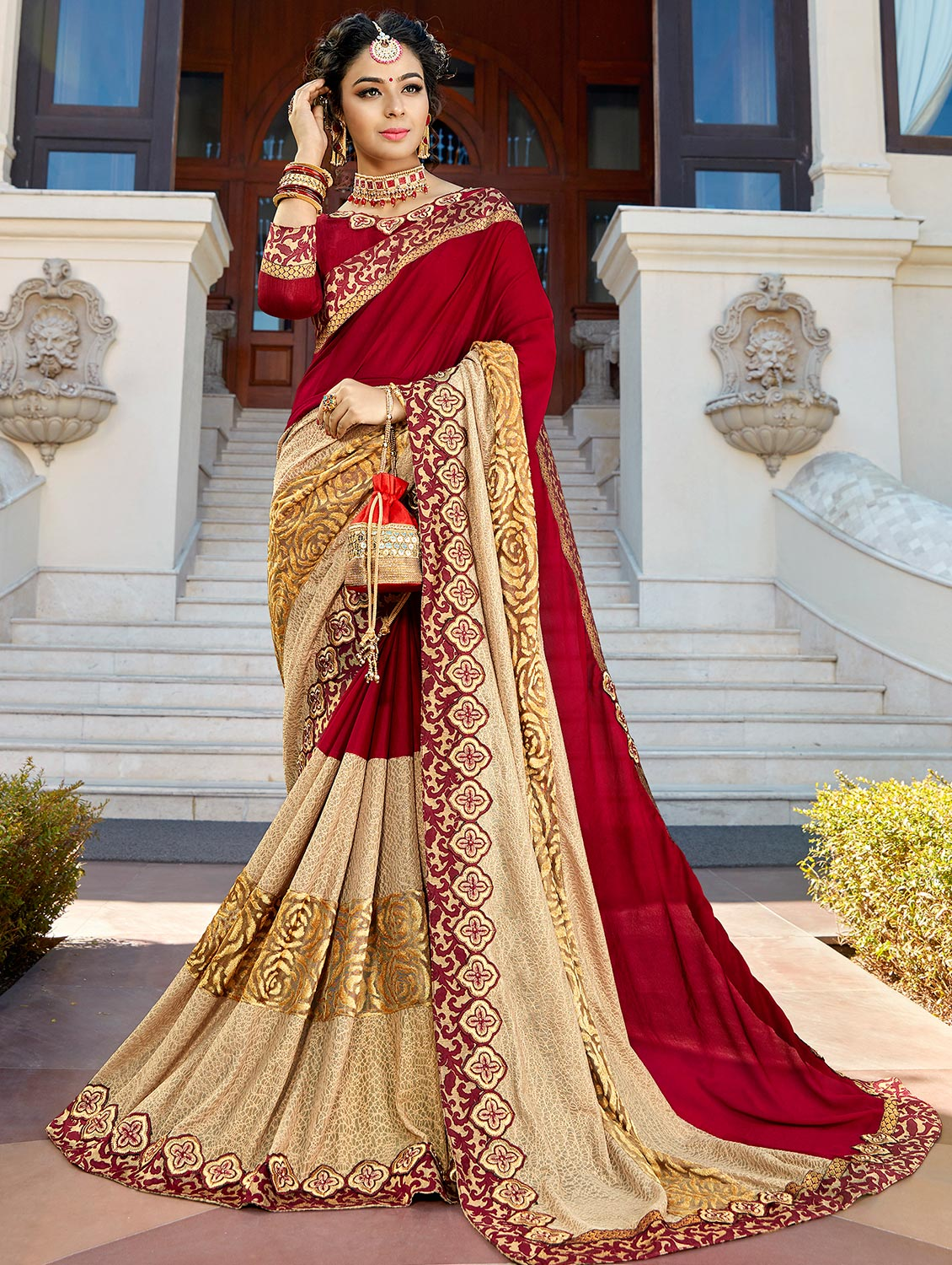 64e6f18fbd5bc Buy Red Georgette Embroidered Saree With Blouse by Shangrila Designer -  Online shopping for Sarees in India