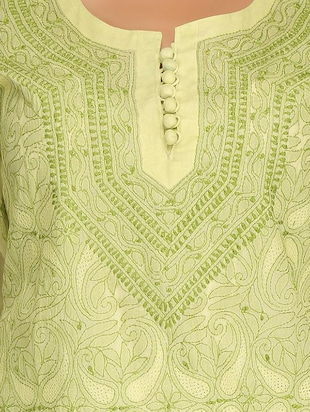 ADA green cotton straight kurta - 14923018 - Standard Image - 4