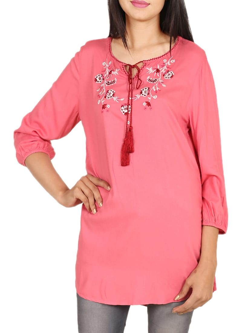 Buy Pink Solid Rayon Embroidered Tunic for Women from Goodwill for ₹536 at  55% off