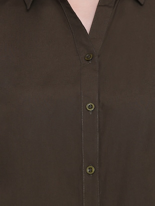 solid green cotton shirt - 14925984 - Standard Image - 4