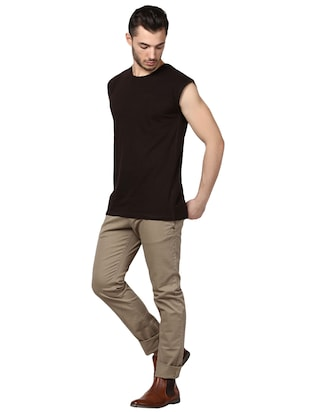 brown cotton t-shirt - 14926016 - Standard Image - 4