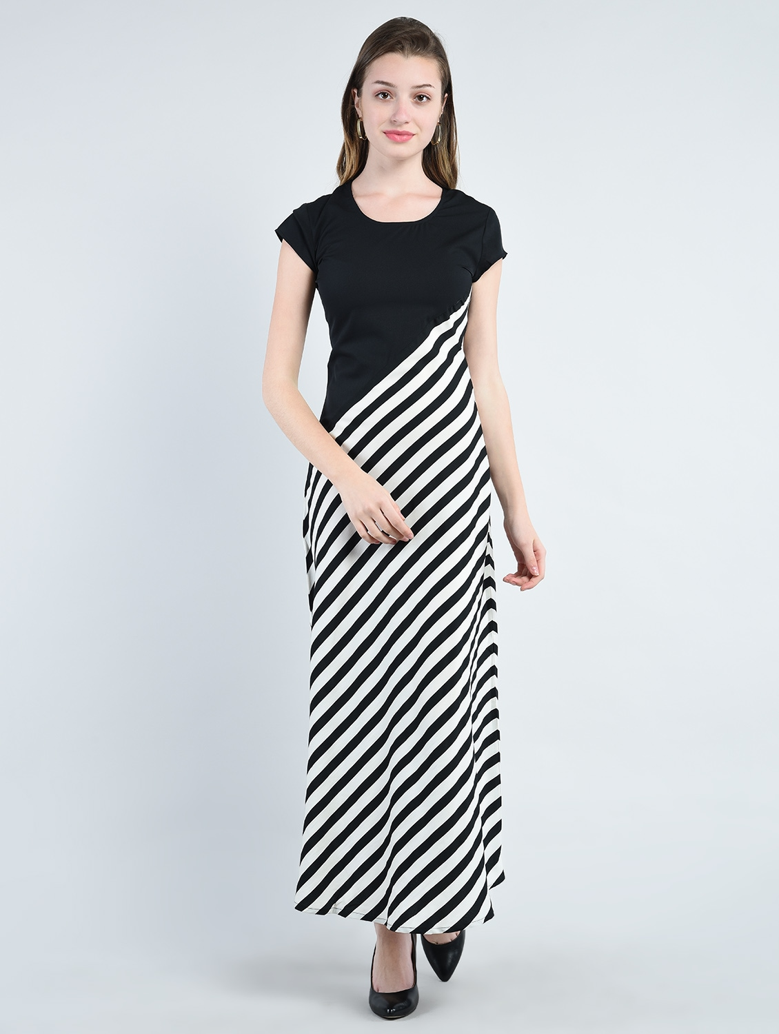 a2dbc227740ba Buy Black Striped Crepe Maxi Dress by Peptrends - Online shopping for  Dresses in India