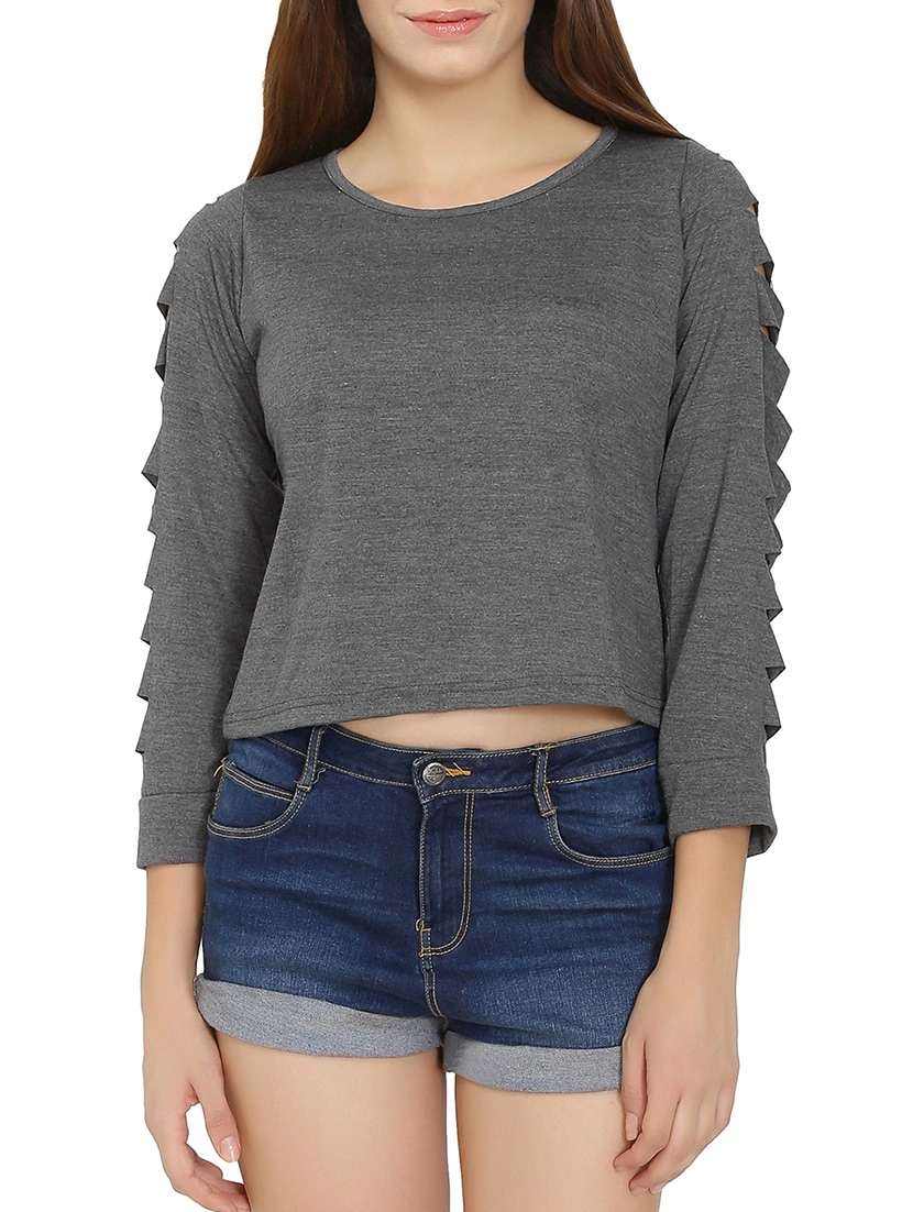 d138cd36ed Buy Grey Ripped Crop Top by Chimpaaanzee - Online shopping for Tops in  India