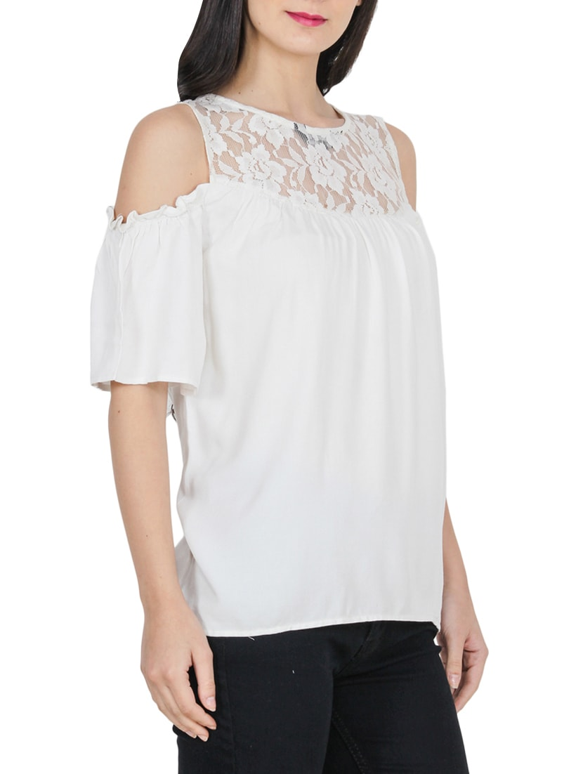 463bb358395e Buy White Solid Cold Shoulder Top for Women from Pastel Palm for ₹337 at  74% off