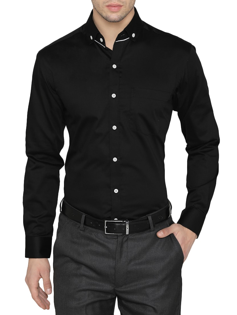 5ddb5749097 Buy Black Cotton Formal Shirt for Men from Dazzio for ₹993 at 33% off
