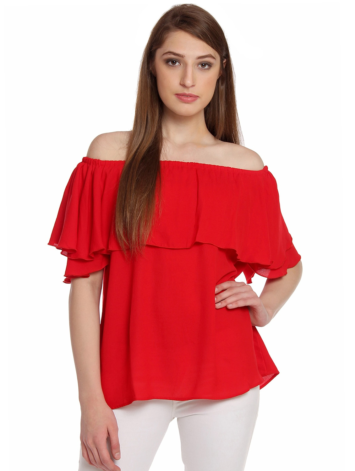 817dc95eef0 Buy Red Crepe Off Shoulder Top for Women from One Of A Kind for ₹950 at 27%  off | 2019 Limeroad.com