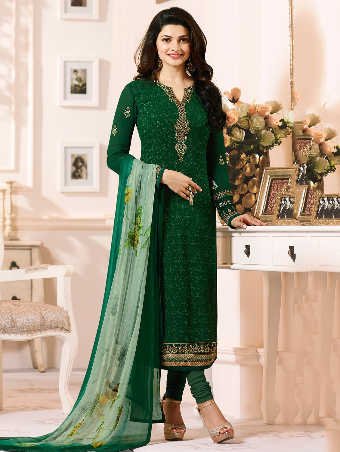 15a74c03f2f Buy Green Georgette Churidaar Suits Semistitched Suit for Women from The  Fashion Attire for ₹4049 at 49% off
