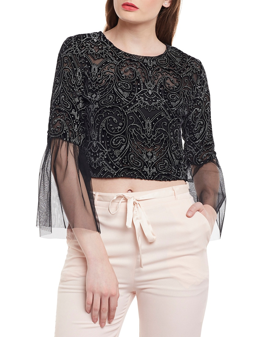 e7825e86fa4e8c Buy Black Embellished Crop Top for Women from Martini for ₹1442 at 37% off