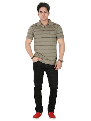 olive green cotton striped -shirt - 14946426 - Standard Image - 4