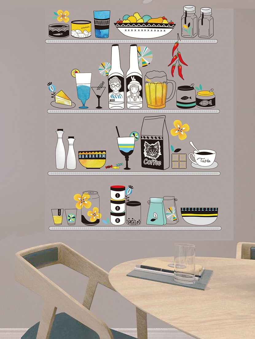 Buy wall stickers kitchen refrigerator decoration wall shelves cabinets restaurant creative food and drinks for unisex from stikerskart for ₹274 at 66 off