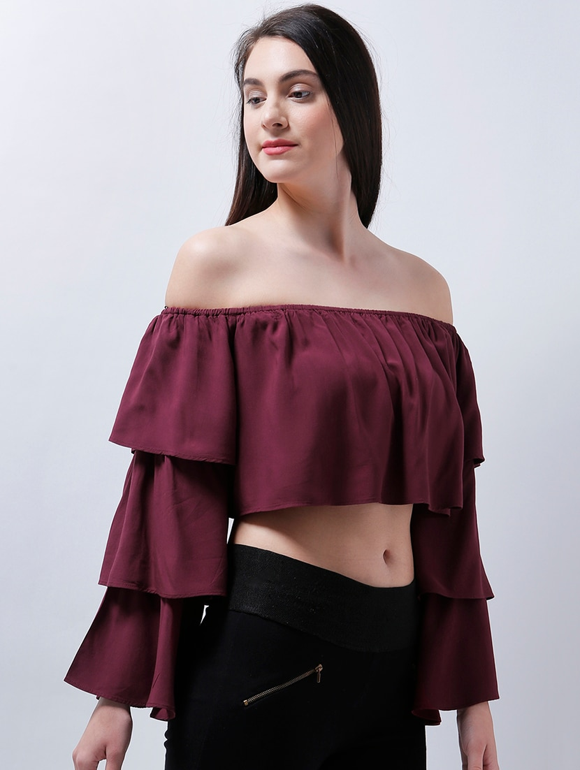 ad3b05f297a Buy Layered Bell Sleeved Off Shoulder Crop Top for Women from Zastraa for  ₹834 at 56% off | 2019 Limeroad.com