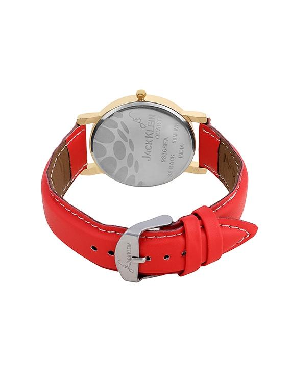215b7a7e89 Jack Klein Stylish Golden Black Round Dial Red Strap Analog Wrist Watch