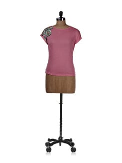 Pink Top With Sequin Embroidery On Sleeve - REME