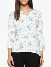 white printed casual top -  online shopping for Tops