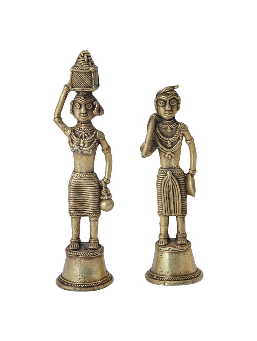 Buy Bastar Tribal Dhokra Art Brass Farmer Showpiece Handicrafts