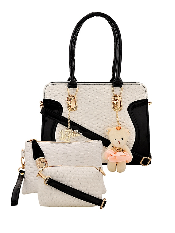 White Leatherette Combo Handbag By Lafille Online Ping For Handbags In India 14957074