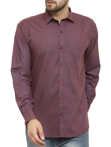 purple cotton casual shirt - 14957422 - Standard Image - 1