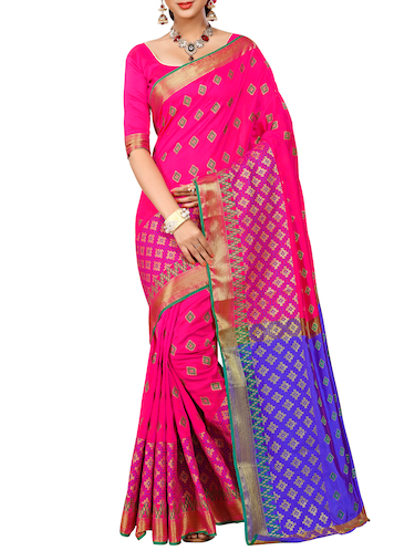 pink patola silk saree with blouse - 14958477 - Standard Image - 1