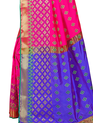 pink patola silk saree with blouse - 14958477 - Standard Image - 4