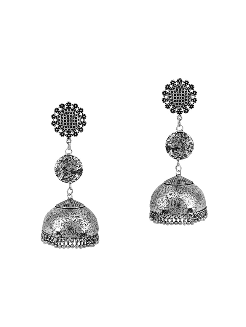 4e088eb45 Buy Silver Oxidized Jhumka Earrings for Women from Malifionna for ₹319 at  71% off | 2019 Limeroad.com