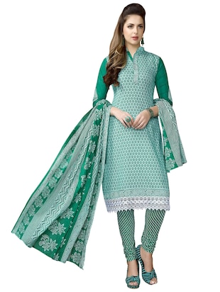 green cotton salwar suit unstitched -  online shopping for Unstitched Suits