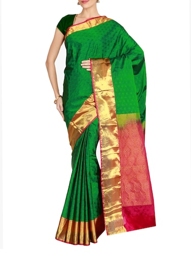 The Chennai Silks green kanjivaram saree with blouse - 14962624 - Standard Image - 1