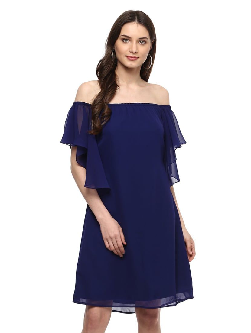 f4ee87062c5f Buy Dark Blue Polyester Off Shoulder Dress for Women from Mabish By Sonal  Jain for ₹1139 at 40% off | 2019 Limeroad.com