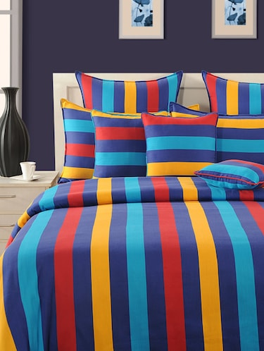 Stripes Single Bed Sheet with 1 Pillow Cover - 14963977 - Standard Image - 1