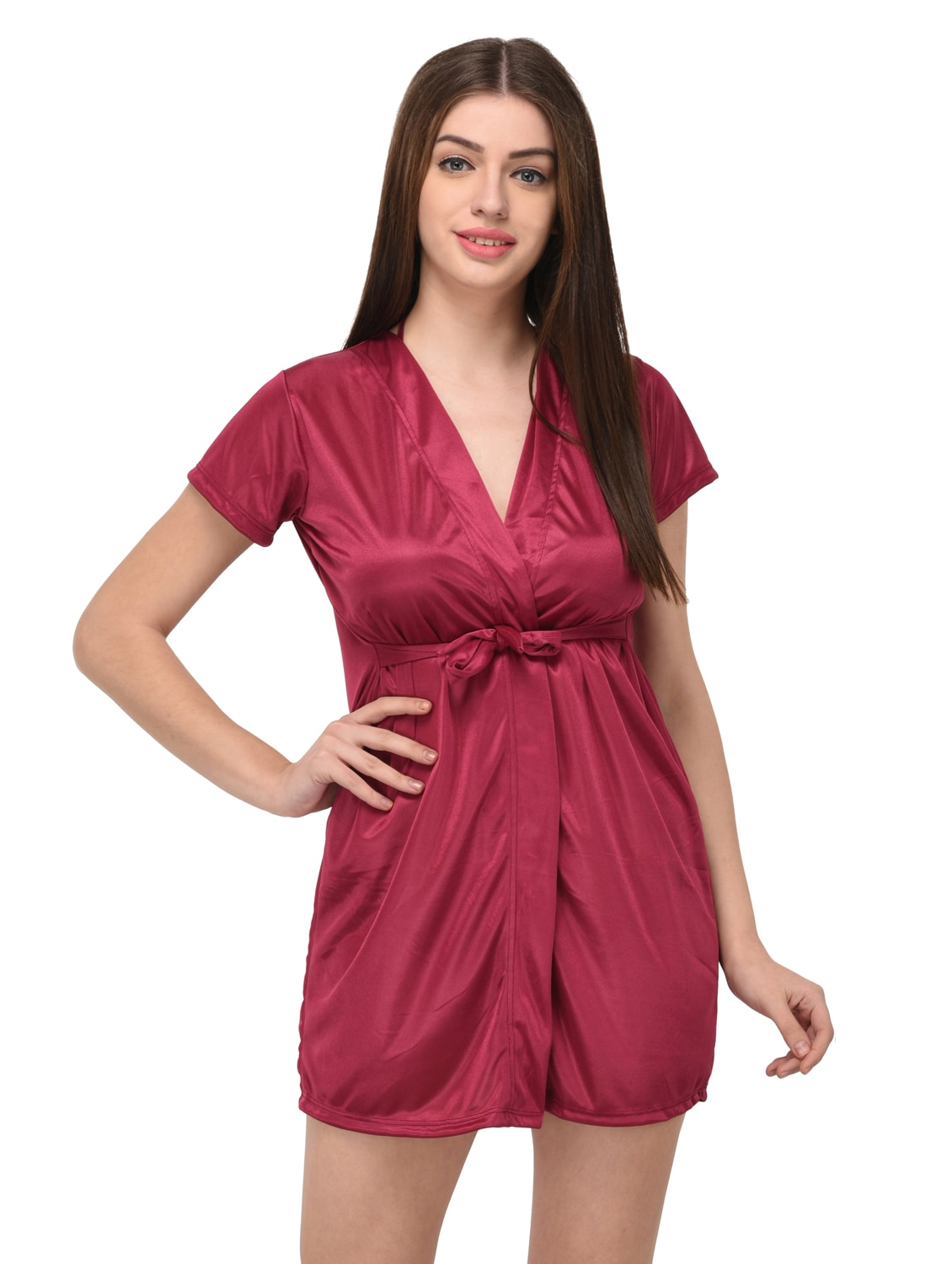 5f631bf9219f Buy Pink Satin Sleepwear Robe With Bra Panty Set for Women from You Forever  for ₹434 at 52% off