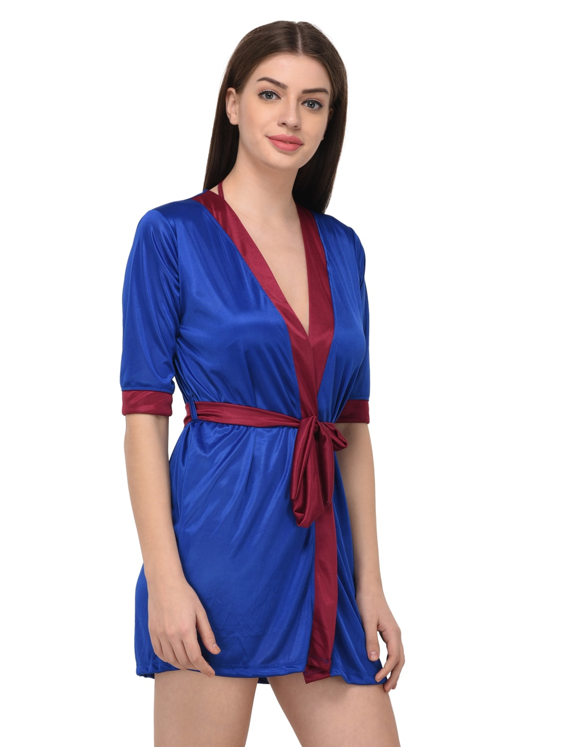 ... blue satin sleepwear robe with bra panty set - 14965001 - Zoom Image - 4 9cd0d3ccd