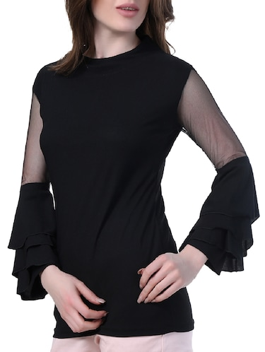mesh insert layered bell sleeved top - 14967012 - Standard Image - 1