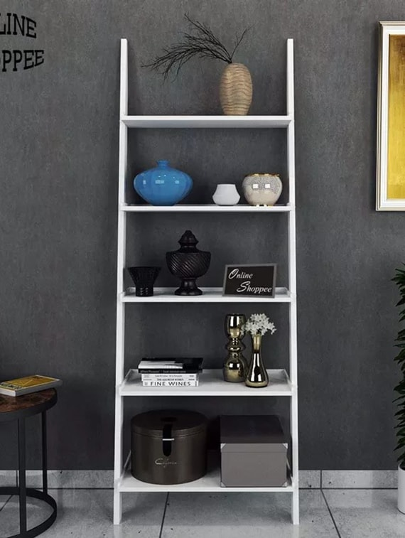 Buy Leaning Bookcase Ladder And Room Organizer Engineered Wood Wall Shelf -white by Onlineshoppee - Online shopping for Wall Shelves in India | 14974734 & Buy Leaning Bookcase Ladder And Room Organizer Engineered Wood Wall ...