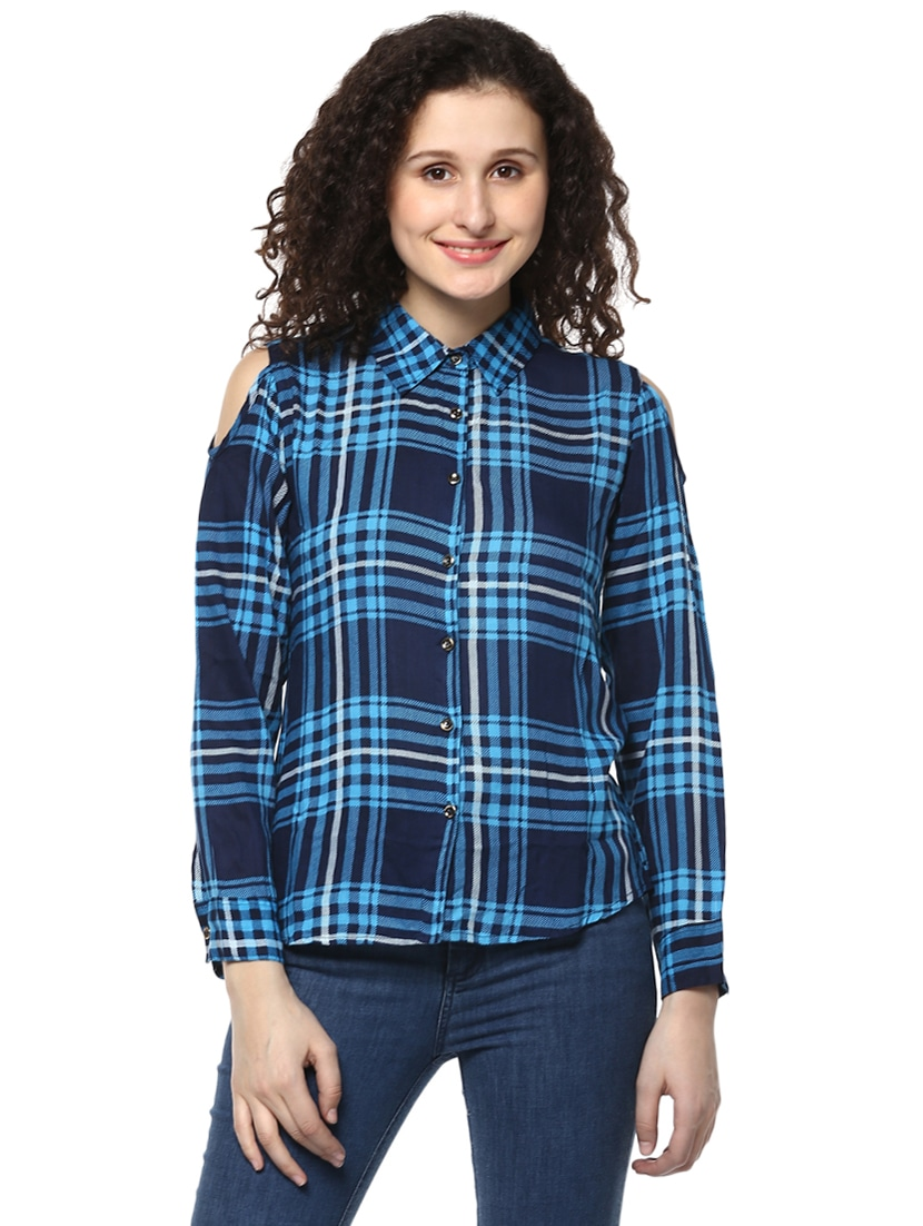 468dcb2738c40 Buy Blue Checkered Cold Shoulder Shirt by Mayra - Online shopping for Shirts  in India