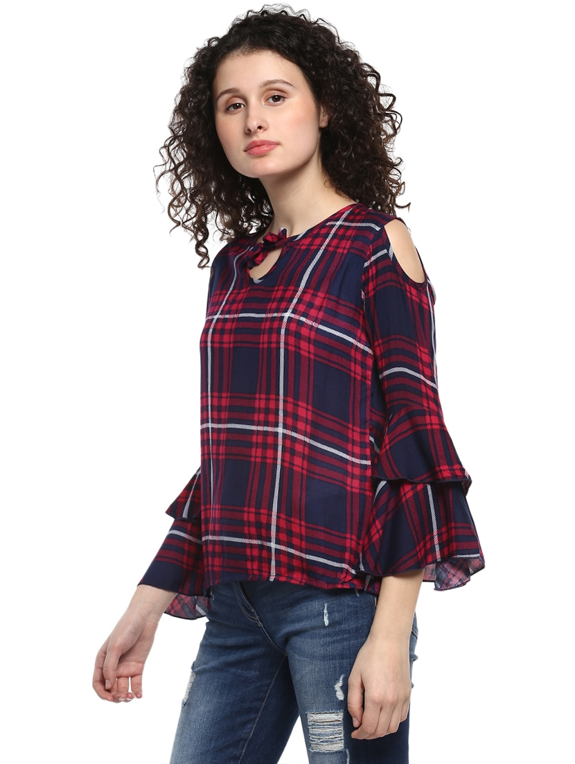 e5a399d08204ee Buy Red Checkered Cold Shoulder Top for Women from Mayra for ₹436 at 56% off