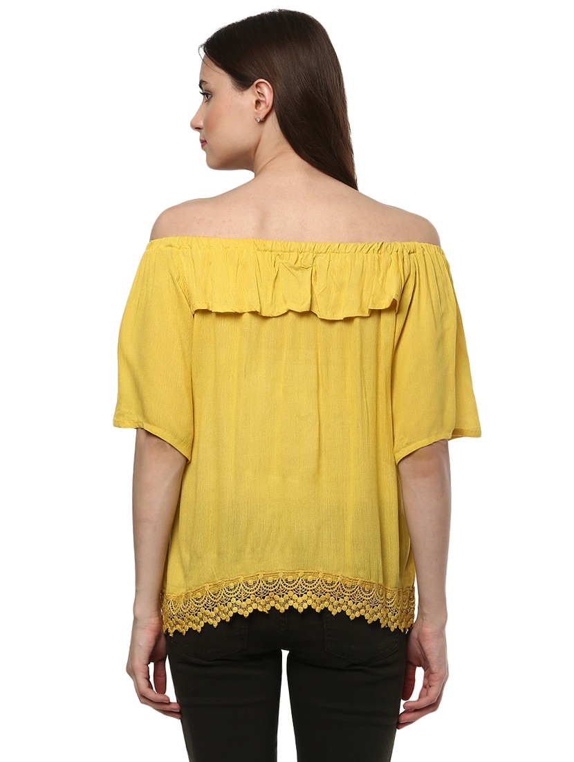 7740a73de8cf Buy Solid Yellow Off Shoulder Top for Women from Mayra for ₹480 at 56% off