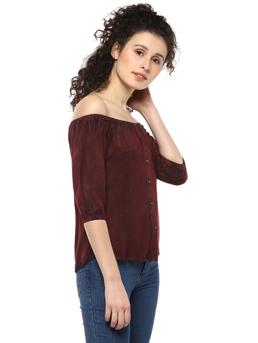 304dde5535f18c Buy Maroon Off Shoulder Denim Top by Mayra - Online shopping for Tops in  India   14980520