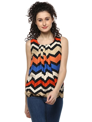 orange printed blouson top -  online shopping for Tops