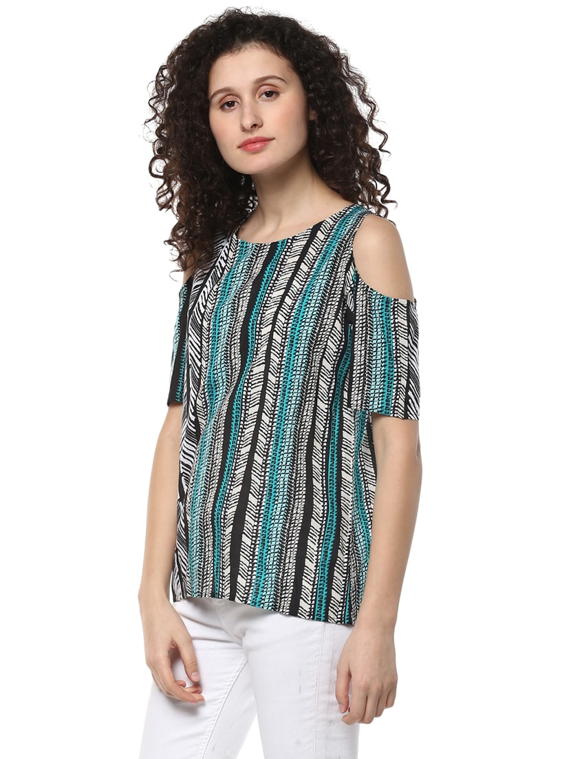 761073ee3ceea Buy Green Printed Cold Shoulder Top for Women from Mayra for ₹391 at 56%  off