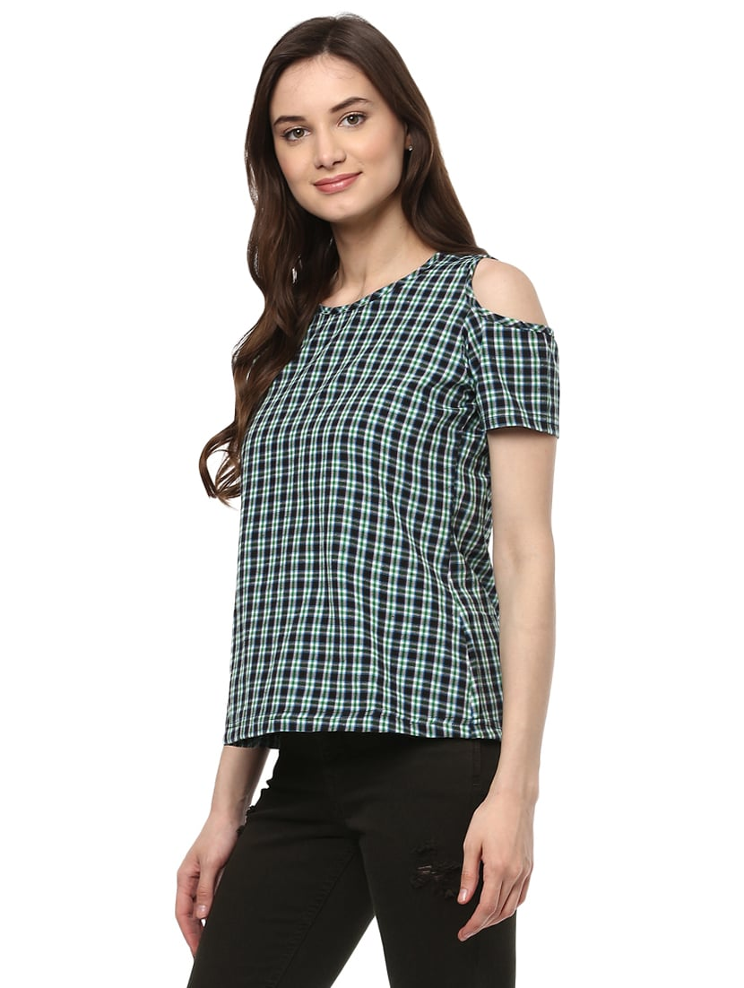 af0a73f79f327 Buy Blue Checkered Cold Shoulder Top for Women from Mayra for ₹436 at 56%  off