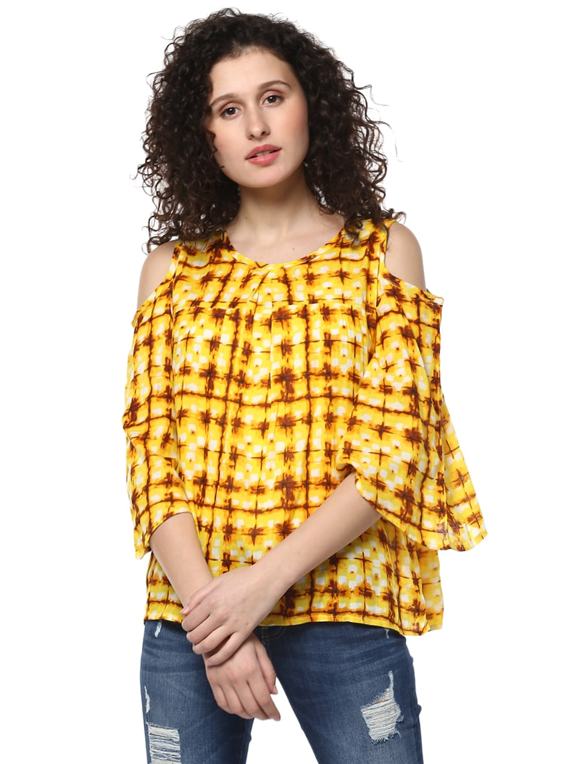 93cba817a7c708 Buy Yellow Printed Cold Shoulder Top by Mayra - Online shopping for Tops in  India