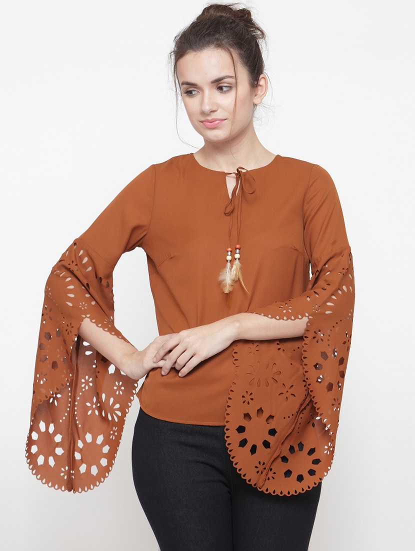 3901f31abad733 Buy Solid Brown Bell Sleeved Top for Women from Pluss for ₹857 at 57% off