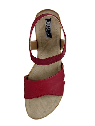 red faux leather back strap sandals - 14986268 - Standard Image - 4