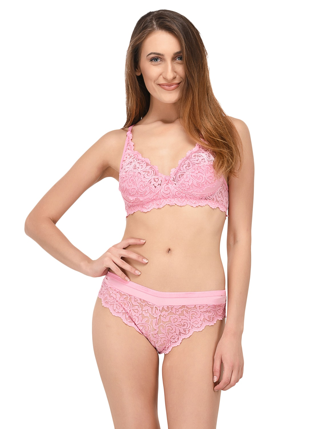 ff4aa5ef59ba6 Buy pink lycra bra and panty set elina online shopping for bras and panty  set in