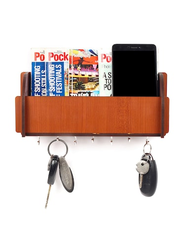 Long Pocket Shelf-Brown KeyHolder Wooden Key Holder (7 Hooks) - 14990913 - Standard Image - 1